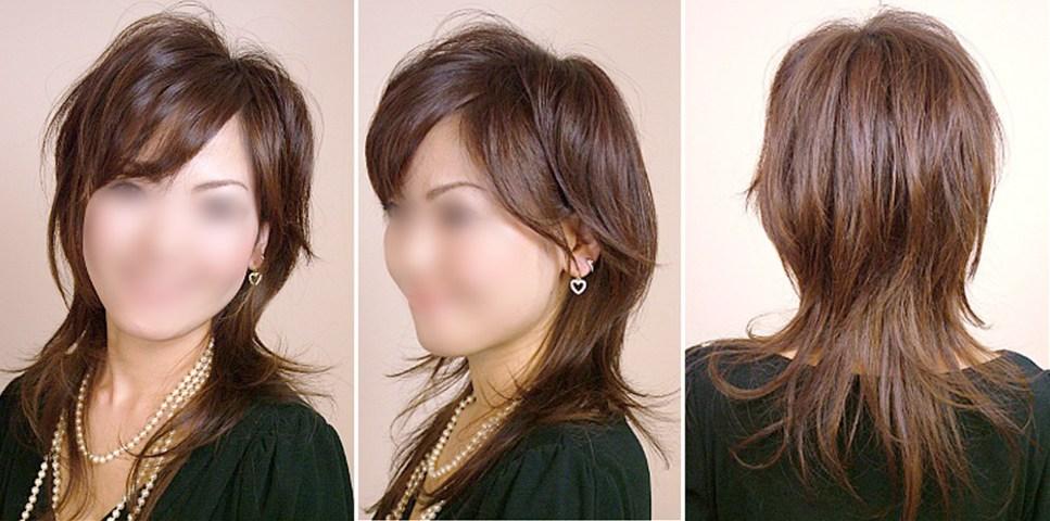画像:女性の髪型,ウルフカットサンプル